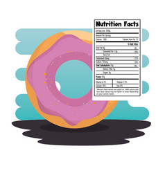 Sweet donut with nutrition facts vector