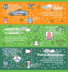 thin line police web banner template set vector image