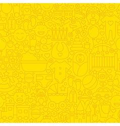 Thin yellow baby newborn line seamless pattern vector