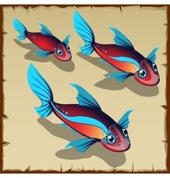 Three red fish with blue spots vector image