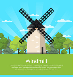 Traditional stony old windmill on nature vector