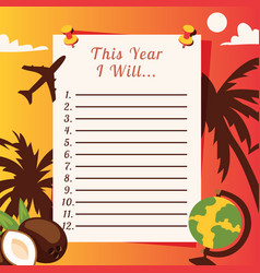 travel list planner with with palm trees coconuts vector image