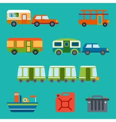 Travel with different types of transport vector image