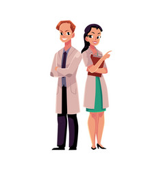 two doctors in medical coat arms folded pointing vector image