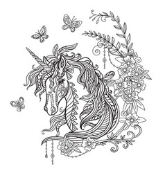 Unicorn portrait coloring book vector