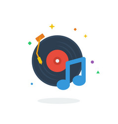 Unique flying music tone song flat badge icon vector