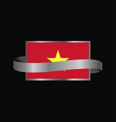 vietnam flag ribbon banner design vector image