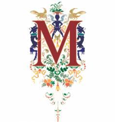 vintage letter m vector image