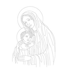 Virgin mary and son vector