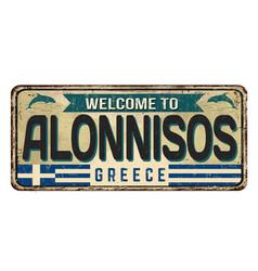 Welcome to alonnisos vintage rusty metal sign vector