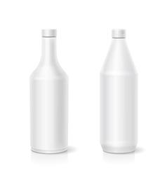 White ketchup blank plastic bottles template vector