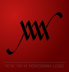 WM or MW calligraphic monogram logo vector image