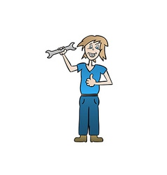 Woman holding spanner vector