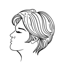women s hairstyle short hair black outline vector image