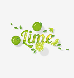 Word lime design in paper art style vector