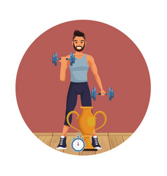 Young and fitness man vector
