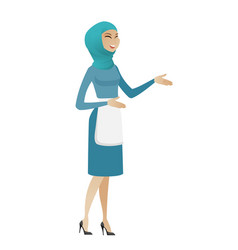 Young muslim happy cleaner gesturing vector
