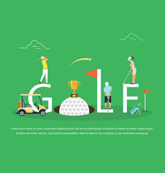 Young people playing golf vector