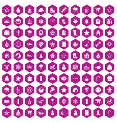 100 christmas icons hexagon violet vector image vector image