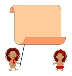 A couple of cartoon hedgehogs with a blank paper vector image vector image