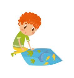 boy learning underwater world preschool vector image