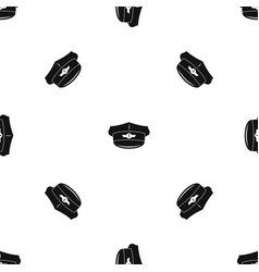 Cap taxi driver pattern seamless black vector