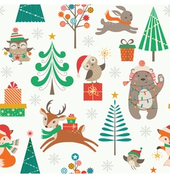 Christmas patter with cute animals vector image vector image
