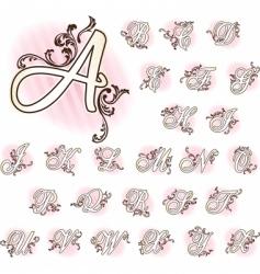 French retro alphabet vector