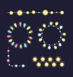 glowing christmas garland light bulbs for xmas vector image vector image