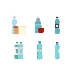water bottle icon set flat style vector image