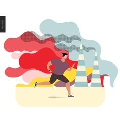 Young man running in smog vector image vector image