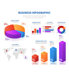 business abstract infographics with 3d pie info vector image