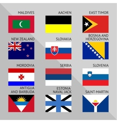 Flags of world flat Set number 12 vector image