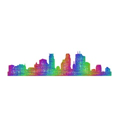 Minneapolis skyline - multicolor line art vector image vector image