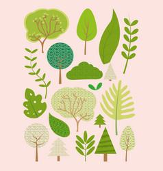 trees cute cartoons vector image