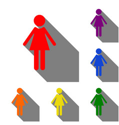 woman sign set of red orange vector image