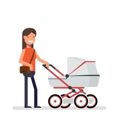 Woman standing next to the pram Girl on a walk vector image vector image
