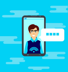 cell smart phone interface chatting user message vector image vector image