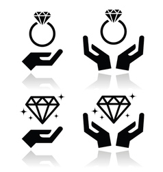 Diamond engagement ring with hands icon vector image vector image