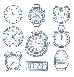 doodle watch clock icons hand drawn time vector image vector image