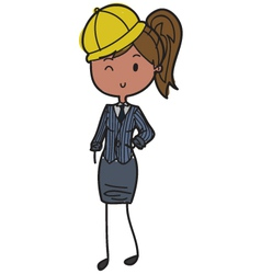 Female builder vector image