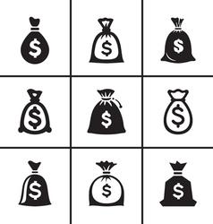Money bags icon set vector image vector image