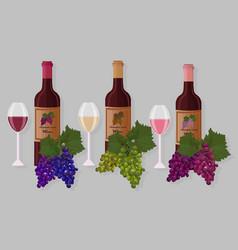 wine bottles sets white wine rose vector image