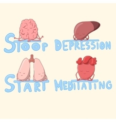 Cute internal organs meditating and struggling vector image