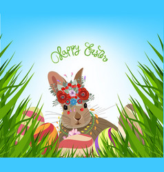 easter eggs spring fresh grass background vector image vector image