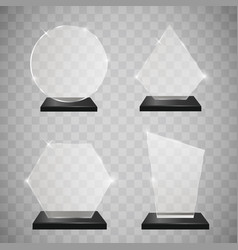 empty glass trophy awards set glossy transparent vector image vector image