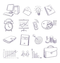 hand draw doodle business icon set vector image