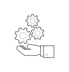 Hand holding wheels line icon vector image