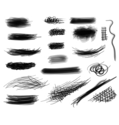 Set of digitally hand drawn black and white vector image vector image