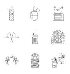 Shooting paintball icons set outline style vector image
